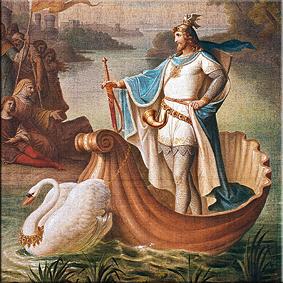 Llegada de lohengrin (a brabante). pintura mural del salón, a. von heckel, 1882/83