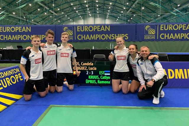 Eesti võistkond peale pronksmedali toonud võidukat mängu Hispaania koondise üle: vasakult kolmas Oskar Männik