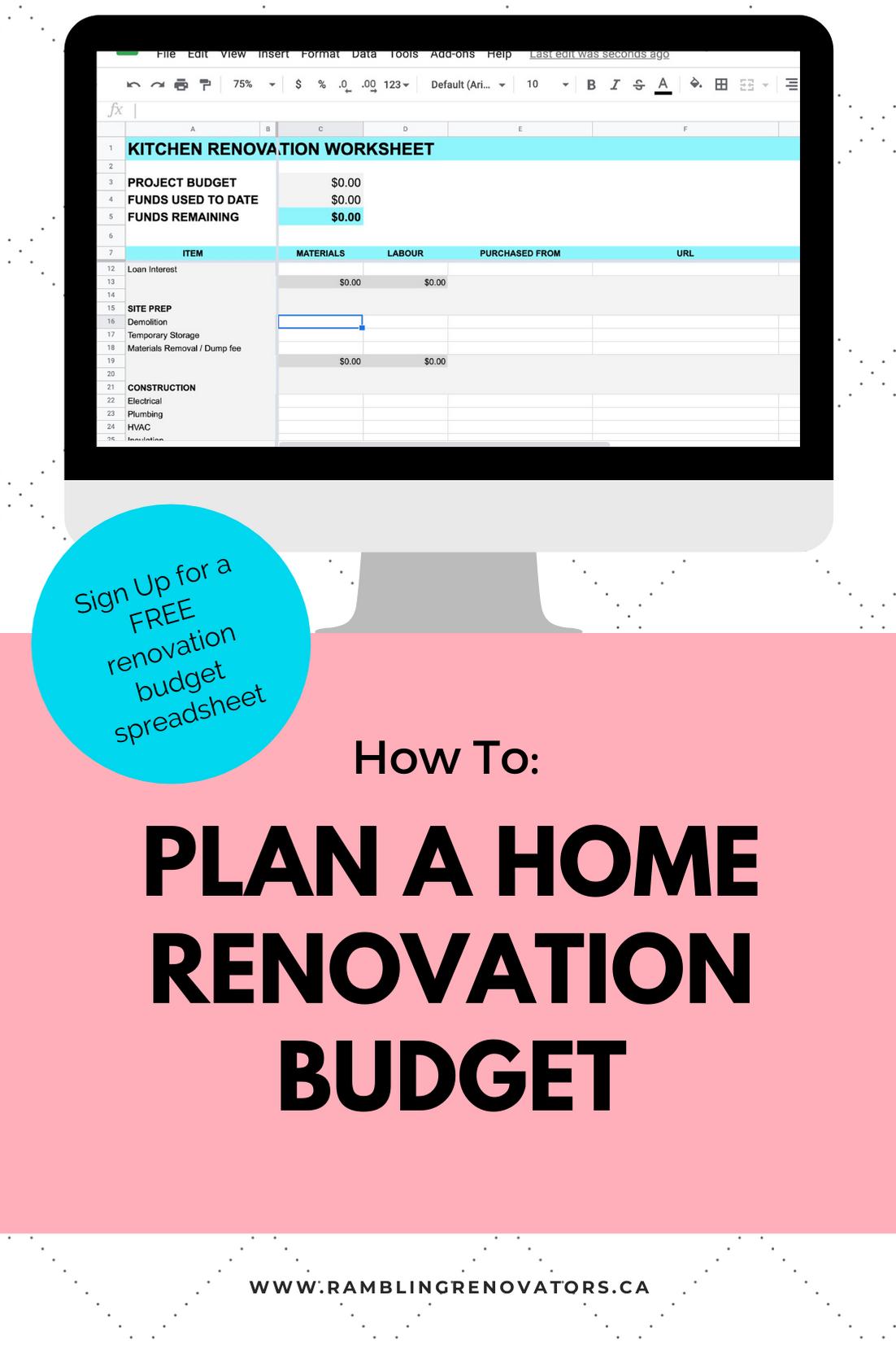 home renovation budget template, renovation template excel, free home renovation budget template