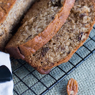 Sour Cream Banana Bread with Toasted Pecans.