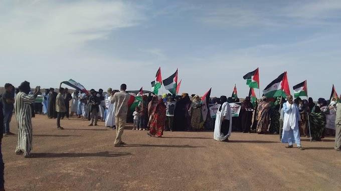 Ciudadanos saharauis se manifiestan frente a la sede de la MINURSO en la localidad liberada de Tifariti.