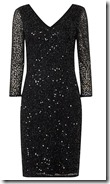 Black sequin lace v neck stretch dress