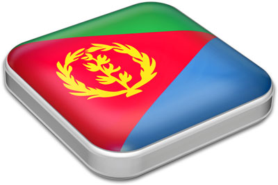 Flag of Eritrea with metallic square frame