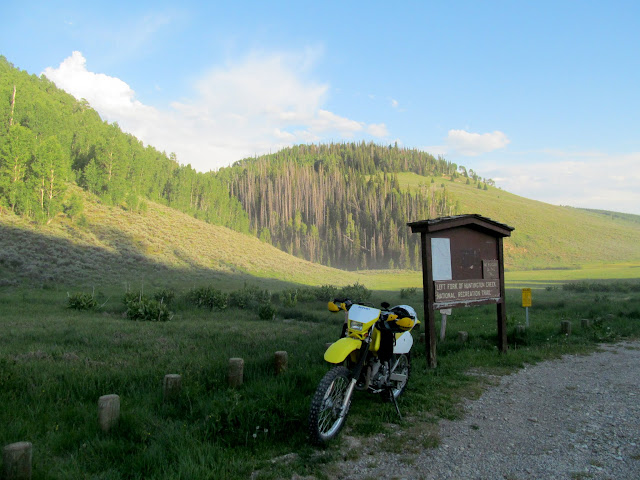 Motorcycle at the upper trailhead
