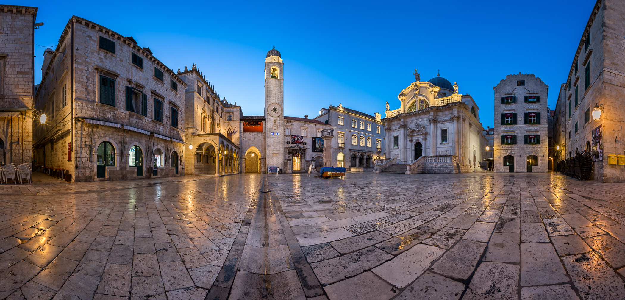 Panorama of Luza Square and Sponza Palace in Dubrovnik