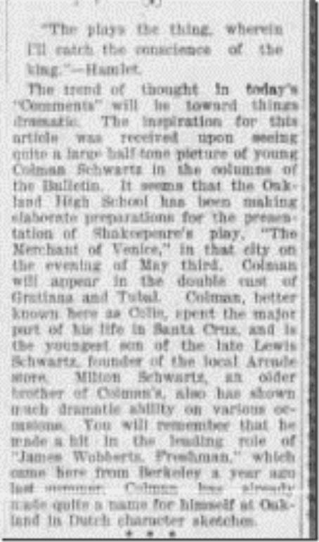 Colman Schwartz Actor Santa Cruz Evening Sentinel 4_26_1902 pg 1