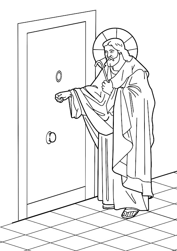 Jesus on the door coloring pages