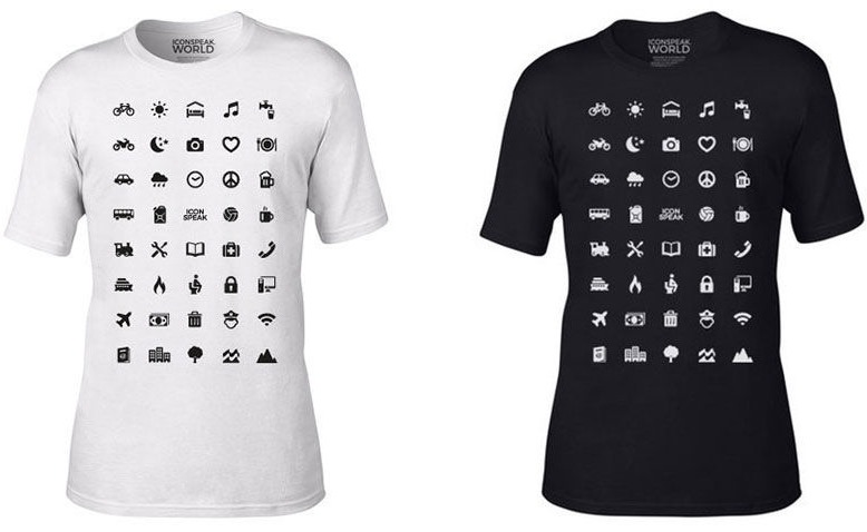 iconspeak traveler t-shirt with 40 icons