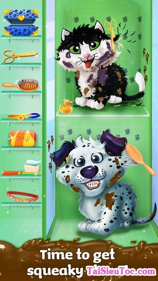 thú cưng vui nhộn trong Game Messy Pet Mania: Muddy Adventures