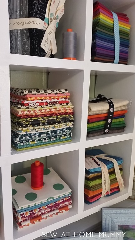 how to store fat quarter fabric shelf craft storage aurifil and thread storage! perfect size || sew at home mummy