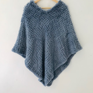 Knit Blue Rabbit Fur Shawl