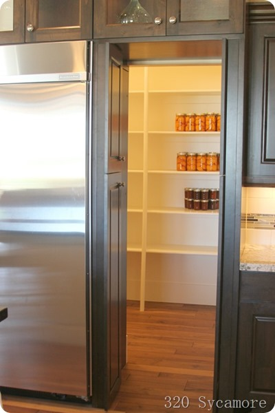 pantry behind fridge