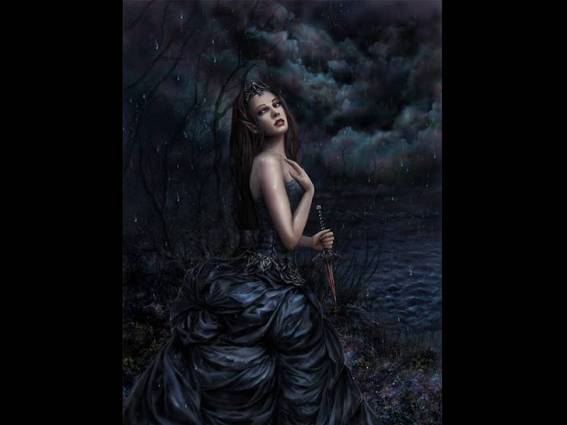 Dark Elven Princess With Knife, Gothic