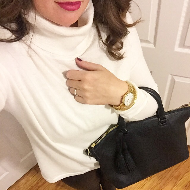 Kate Spade watch, hot pink lips, hot pink lipstick, Tory Burch Thea Bag, Tory Burch bag, Nordstrom turtleneck, faux leather leggings
