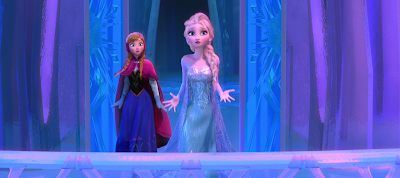 Anna tries to free Elsa from her ice palace in Frozen