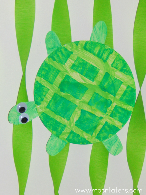 Tape Resist Paper Plate Turtle Craft
