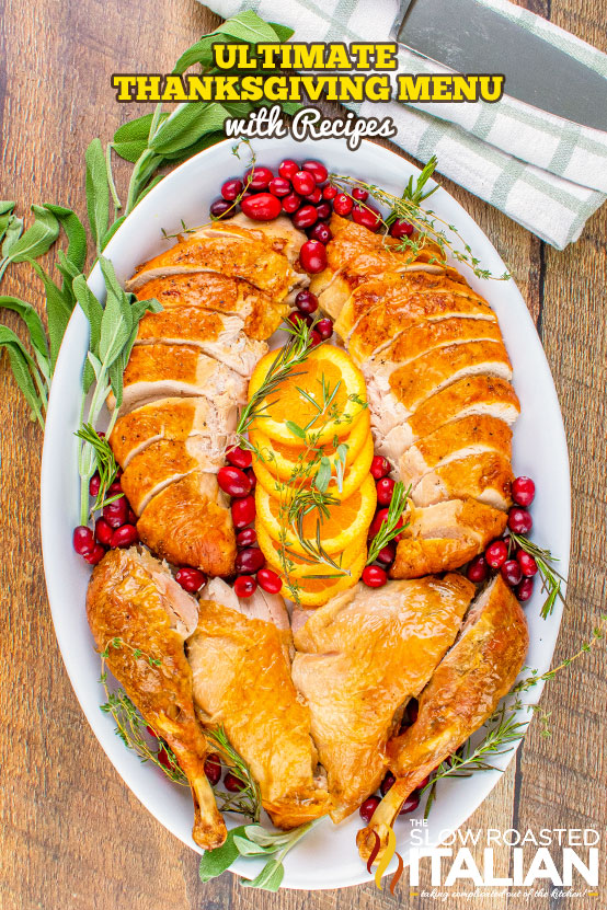 Title text (image of a turkey on a platter): Best Thanksgiving Recipes