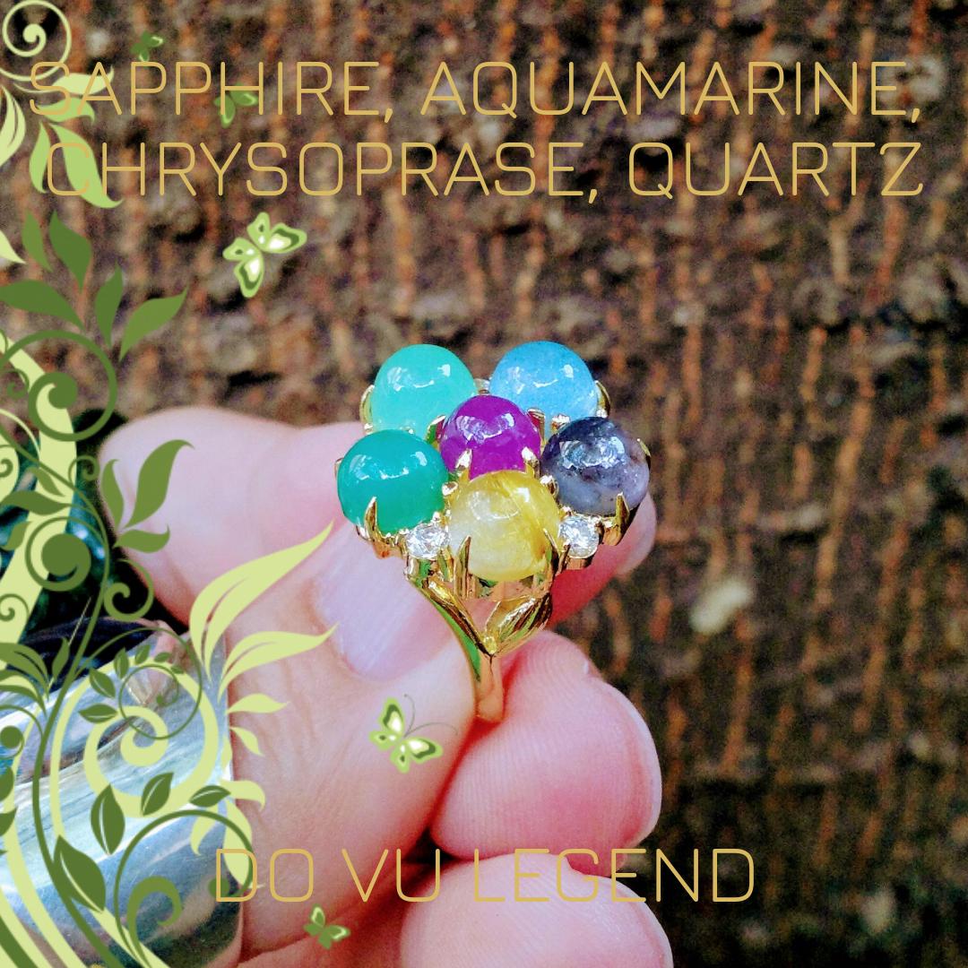 Nhẫn đá quý Sapphire, Aquamarine, Ngọc Đế Quang, Thạch Anh Tóc Vàng