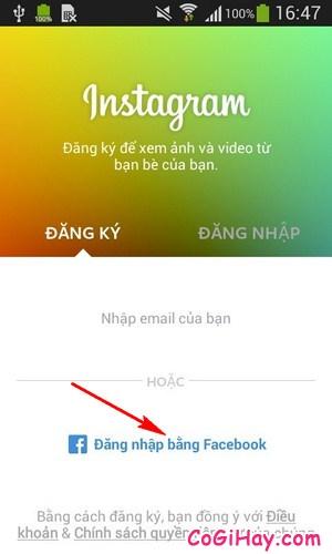 đăng ký instagram với facebook