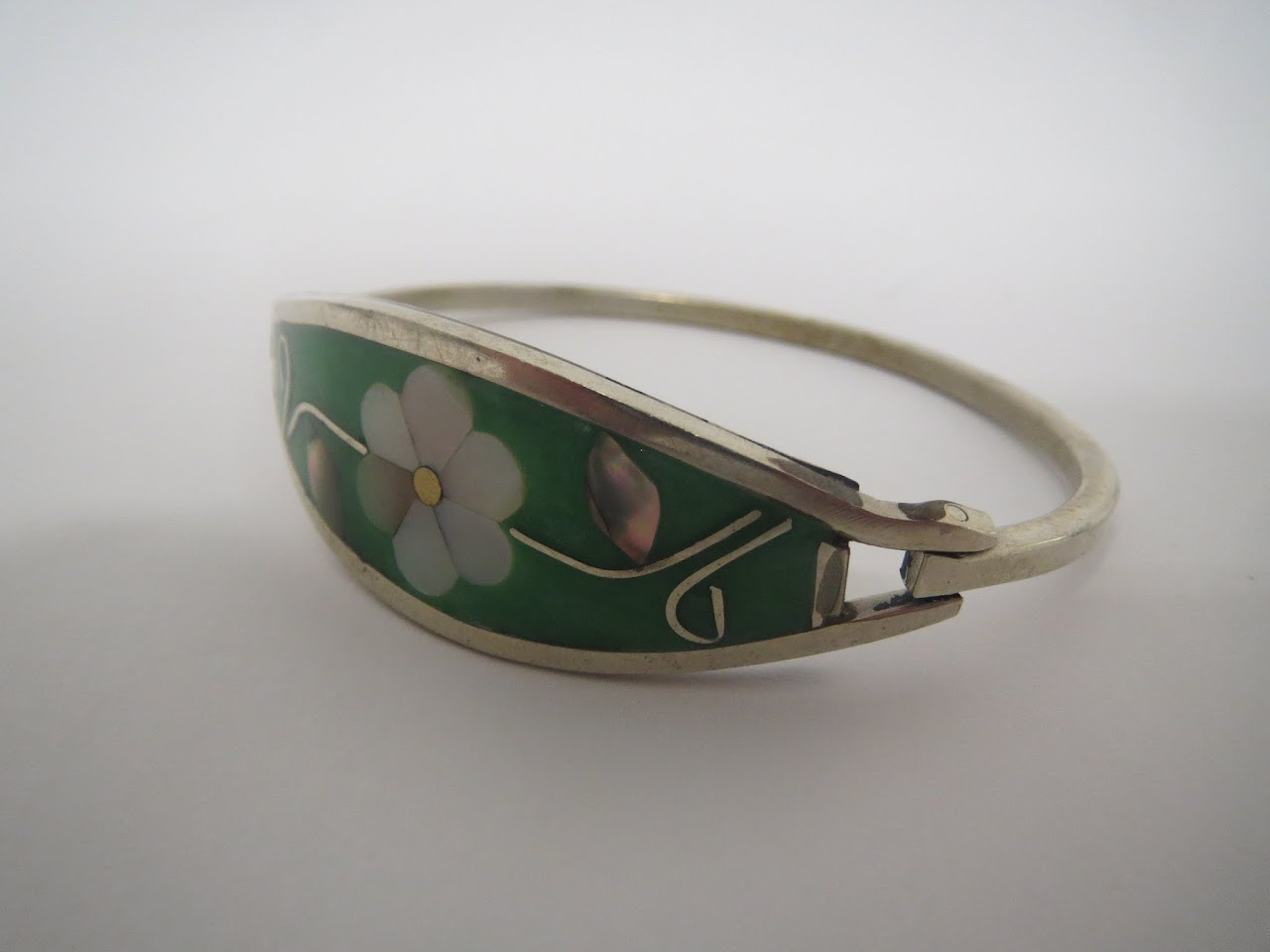 Silver & Enamel Mexican Bangle