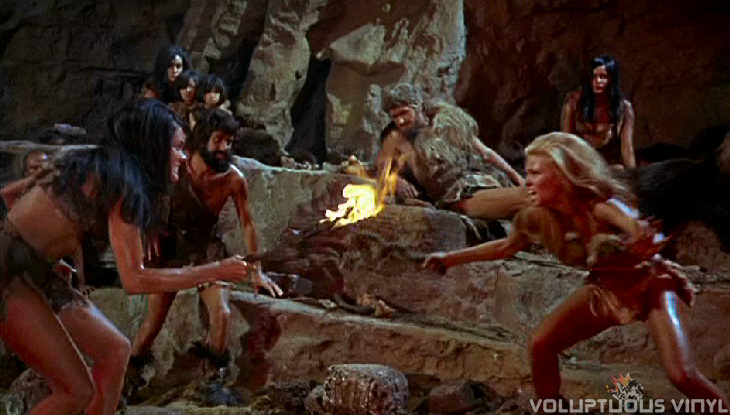 Raquel Welch and Martine Beswick sexy bikini clad girl fight in One Million Years BC