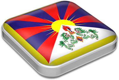 Flag of Tibet with metallic square frame