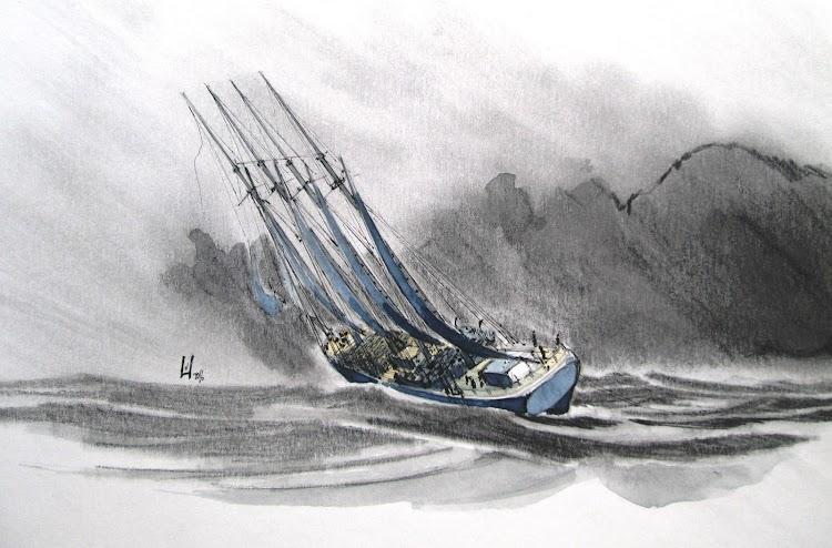 Pailebote VIRGEN DE LOS MILAGROS casi desarbolado y a la capa cerca de Sant Carles de la Rapita. Copyrigth El Ilustrador de Barcos. Prohibida su reproducción.jpg