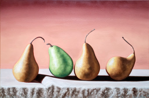 "Three Bosc and One D'Anjou 24"" by 36"". Artist Judy Prisoc"