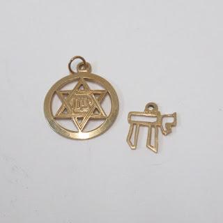14K Gold Judaica Pendant Pair