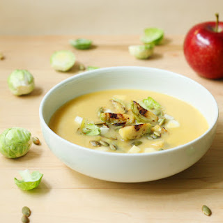 Creamy Miso Squash Soup with Seared Brussels Sprouts and Apple (Dairy-Free, Vegan)