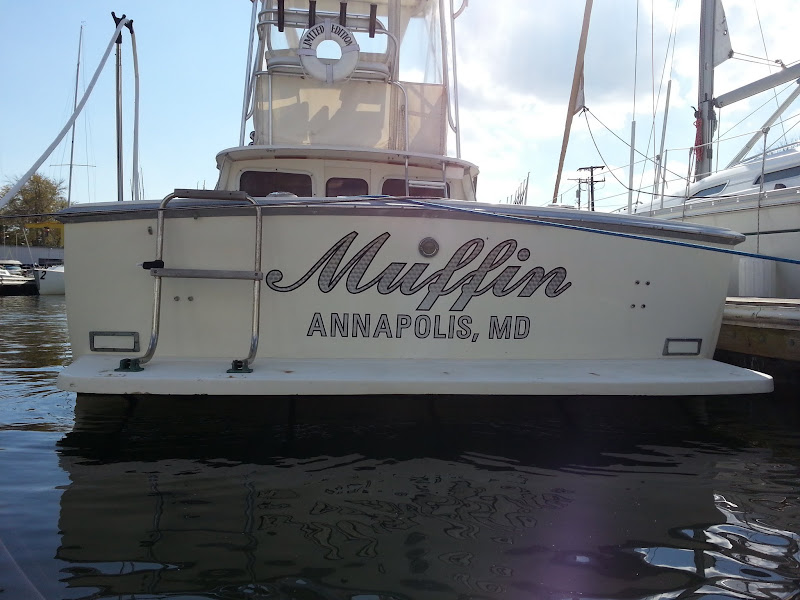engine turned silver boat lettering - muffin