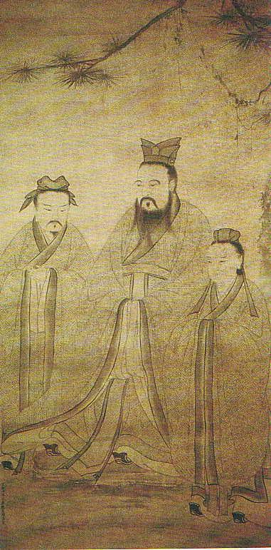 Confucius Avec Deux De Ces Disciples 1368 1644, Confucius