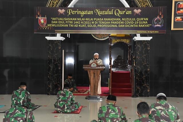 Korem 091/ASN  Memperingati Nuzulul Qur'an di Tengah Pandemi COVID-19