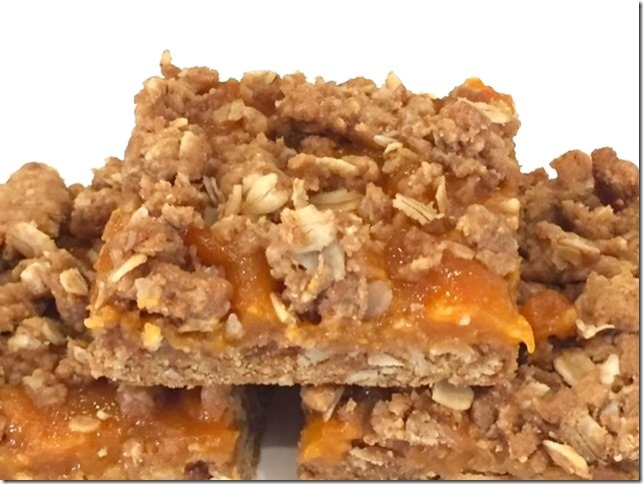 Apricot Betty Bars, gluten free, refined sugar free, vegan