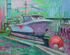 "Photo: Shipyard Study, acrylic on canvas 11"" x 14"" by Nancy Roberts, copyright 2014."