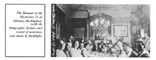 The Banquet of the Mysterious 13 at Atlanta, flashlighted, with the Autographic Kodak, and record of occurence, also made by flashlight.
