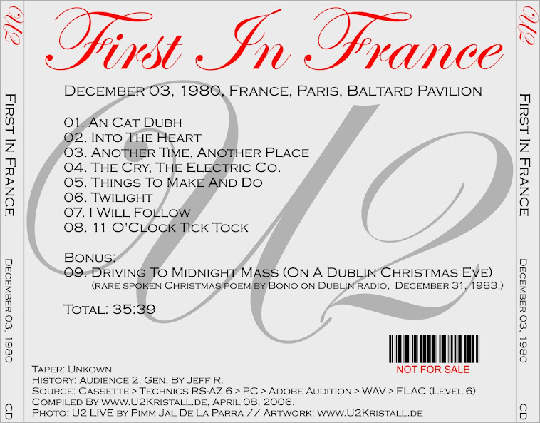 U2 - 'First In France', Baltard Pavilion, Paris, 3 December 1980 (CD
