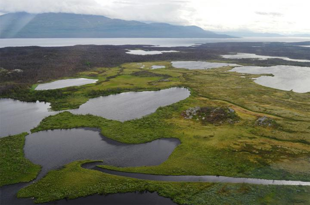 Aerial view of post-glacial lakes in Stordalen, northern Sweden. Photo: Jo Uhlbäck