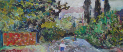 child in ruscombe lane oil on canvas rw conway jones