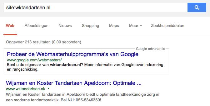 Geen sterretjes bij Wijsman en Koster Tandartsen op de homepage