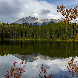 Autumn Mountain Reflections by Kevin Frick - Landscapes Waterscapes ( mountains, leaves, lake )