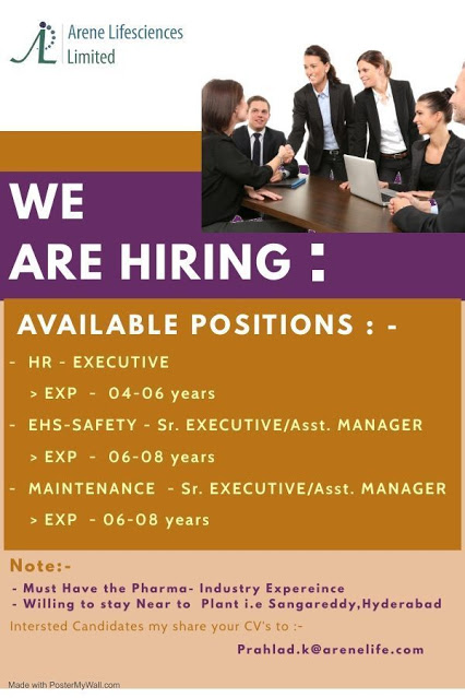 Arene Lifesciences Limited Job - Urgent Openings for HR / EHS - Safety / Maintenance Departments