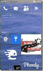 Windows Phone 10 Start Screen