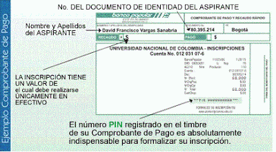 Comprobante de Pago Inscripción Universidad Nacional de Colombia
