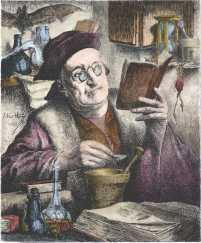 Engraving By E Van Hove Der Alchemist 1883, Alchemical And Hermetic Emblems 1