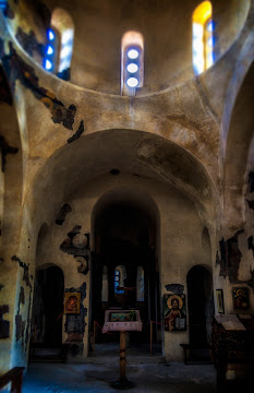 Inside view of the Church of the Holy Mother of God Tzar Asen's Fortress near Asenovgrad Bulgaria Canon 400D