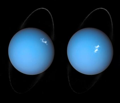 anel e auroras em Urano