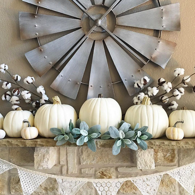 white pumpkin mantel
