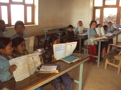 Classroom built in Okhaldunga District, Nepal, with assistance of Losang Namgyal Rinpoche. Photo courtesy of Losang Namgyal Rinpoche.