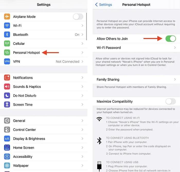 استكشاف أخطاء Iphone Wifi Hotspot وإصلاحها. أعد تشغيل نقطة الاتصال الشخصية